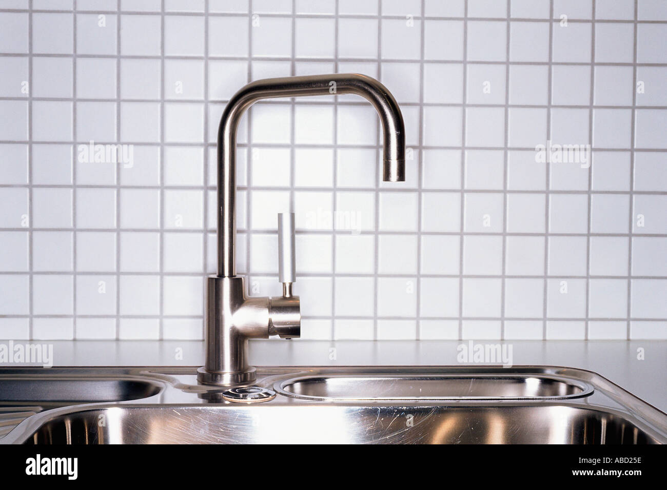 Metal kitchen sink - Stock Image