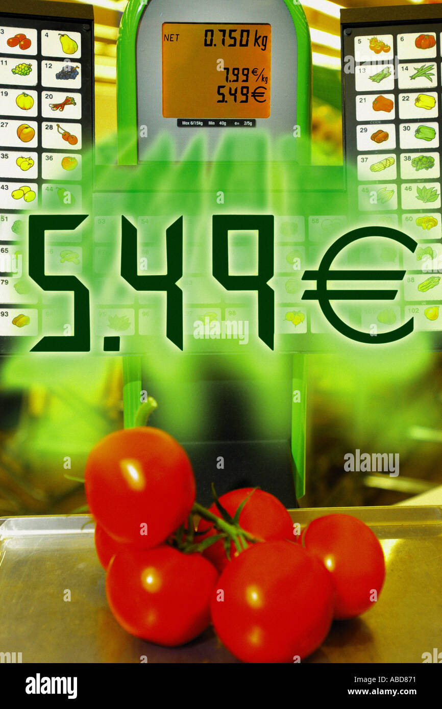 Vegetables being priced - Stock Image