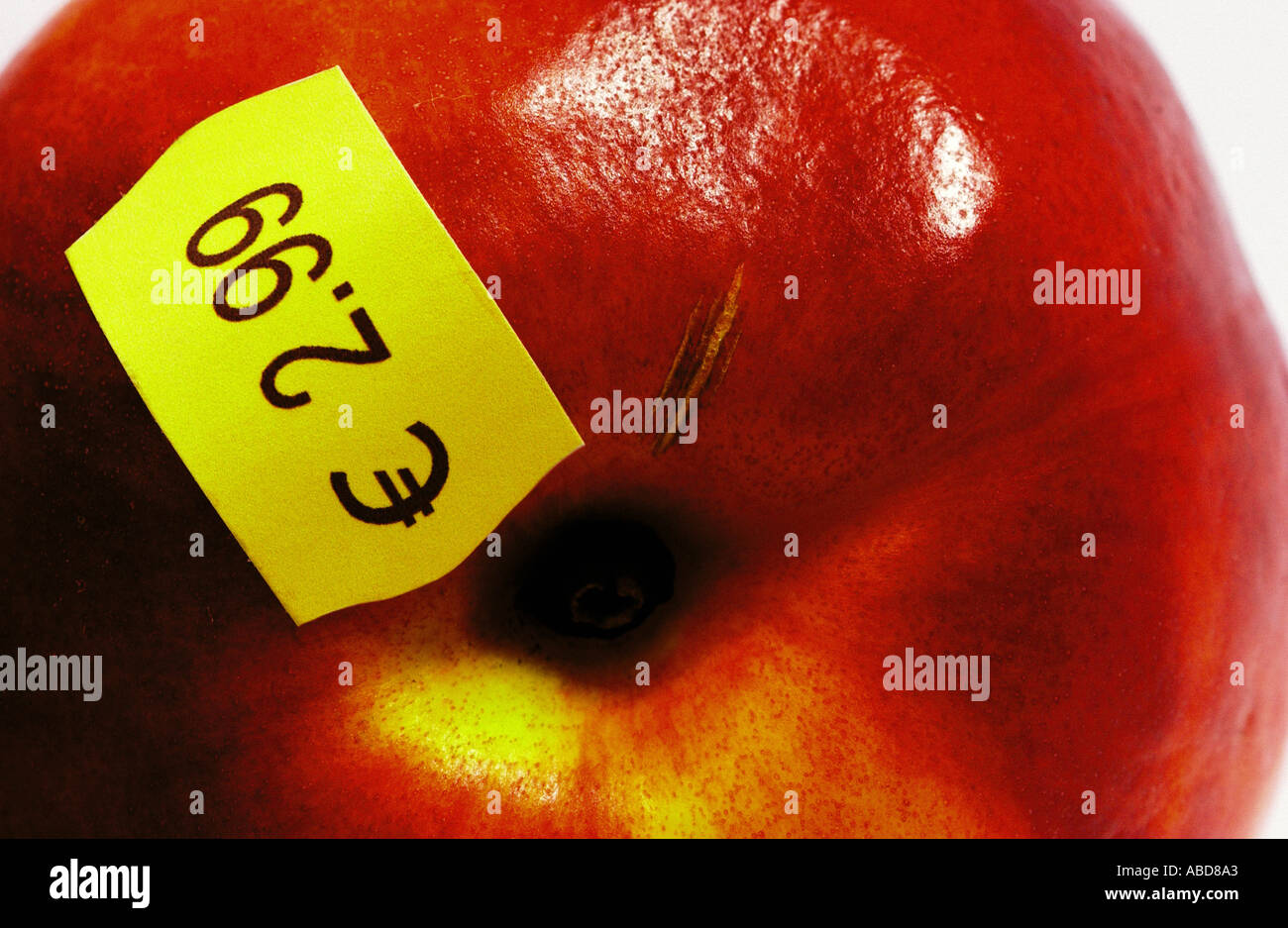 Apple with price - Stock Image