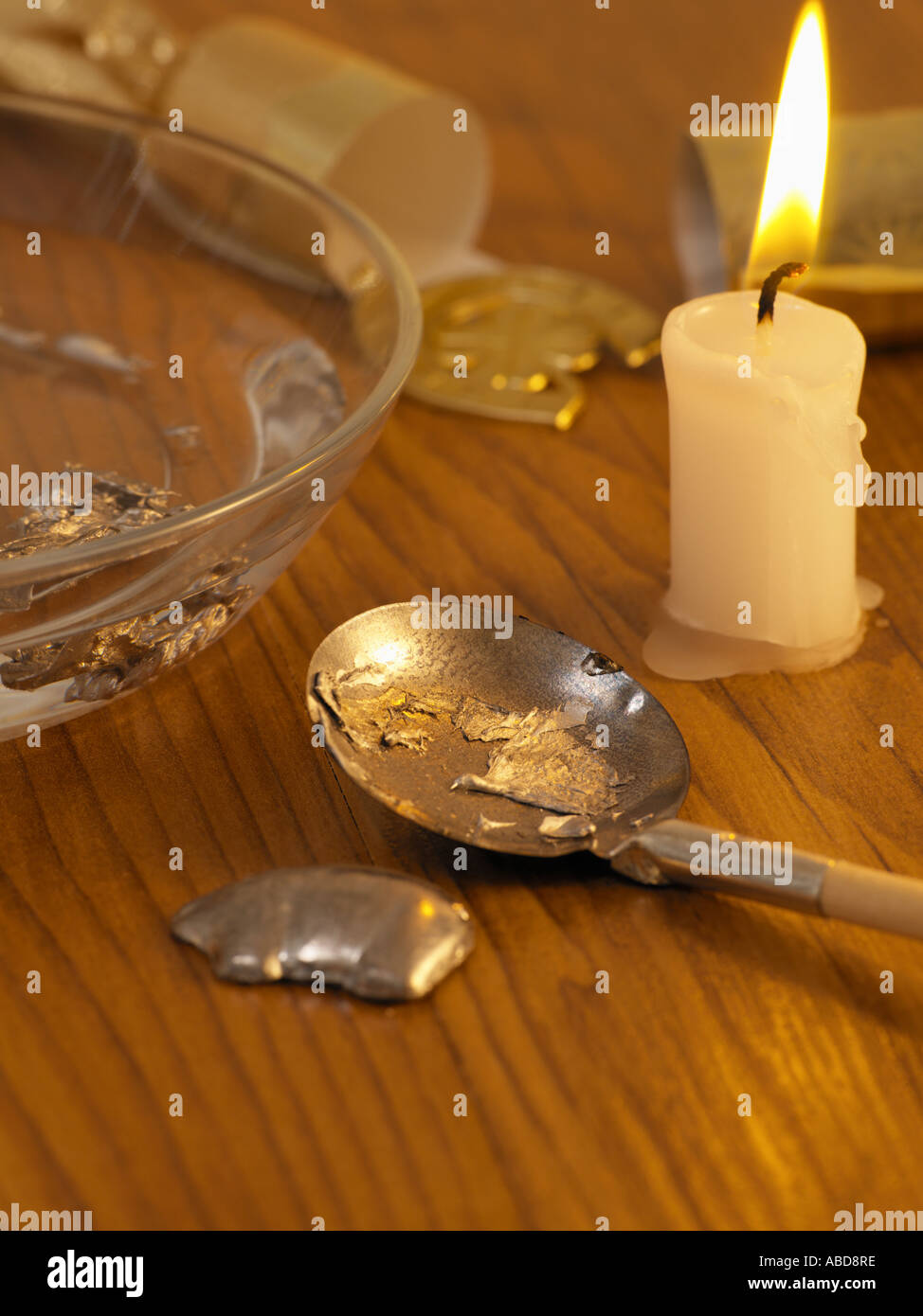 Fortune telling with melted lead - Stock Image