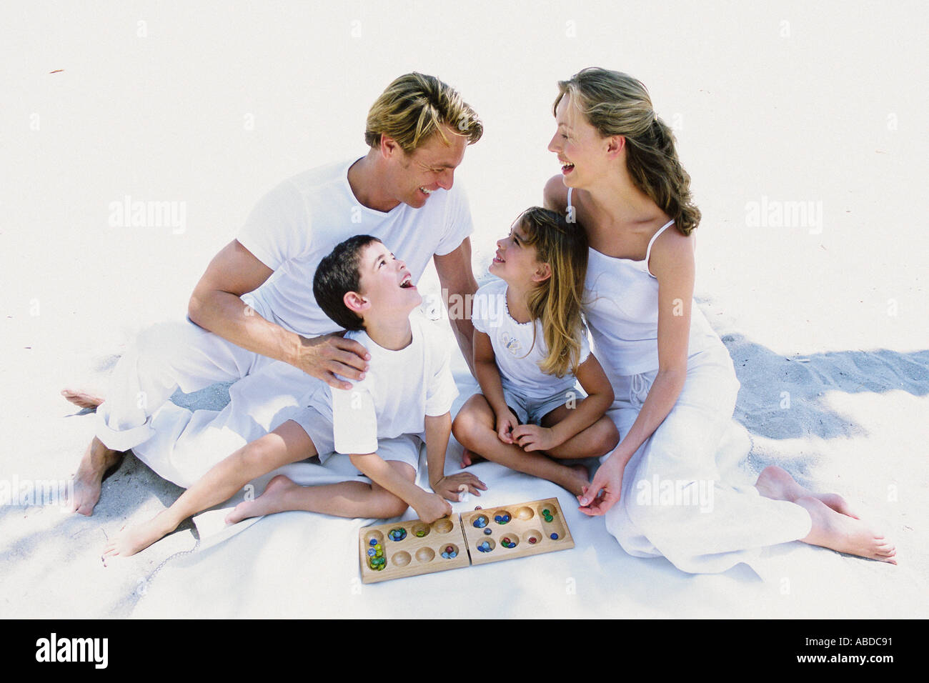 Family playing a game - Stock Image