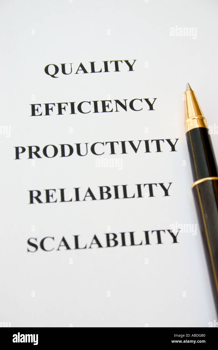 pen and paper with words quality efficiency productivity reliability