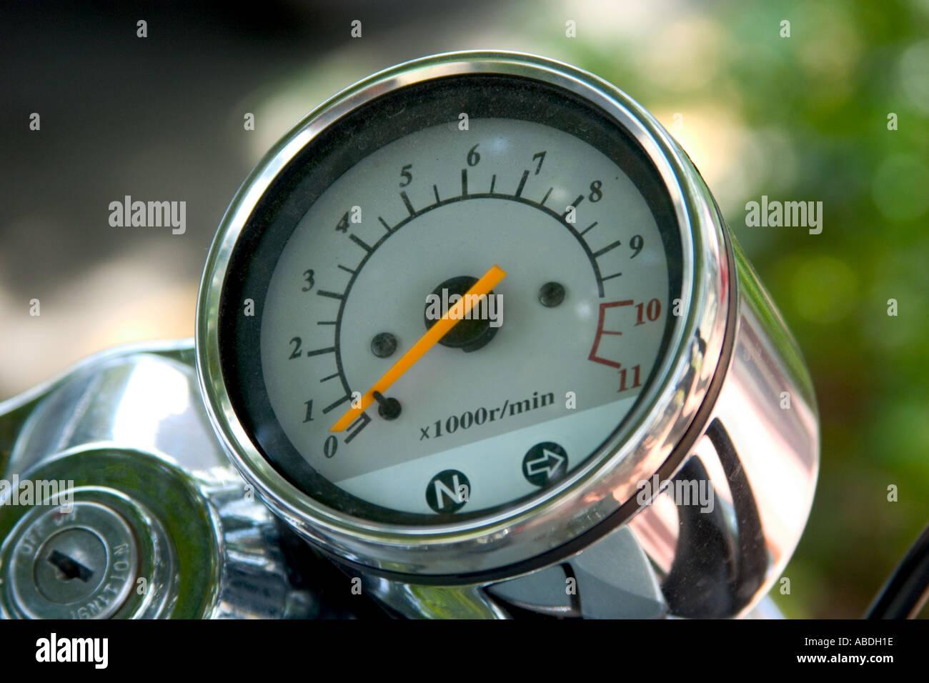 closeup of motorcycle rev meter - Stock Image