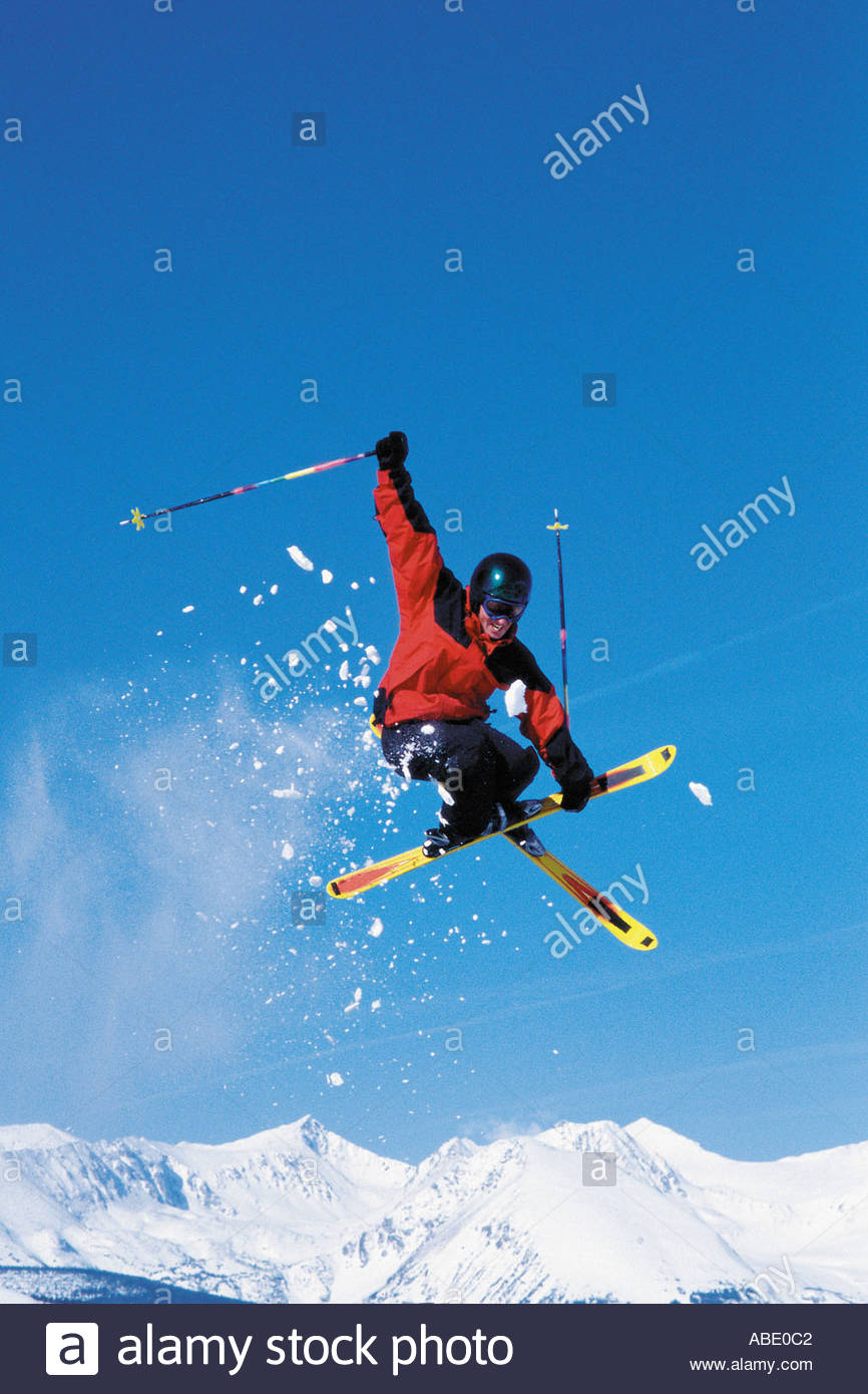 Skier in the air - Stock Image