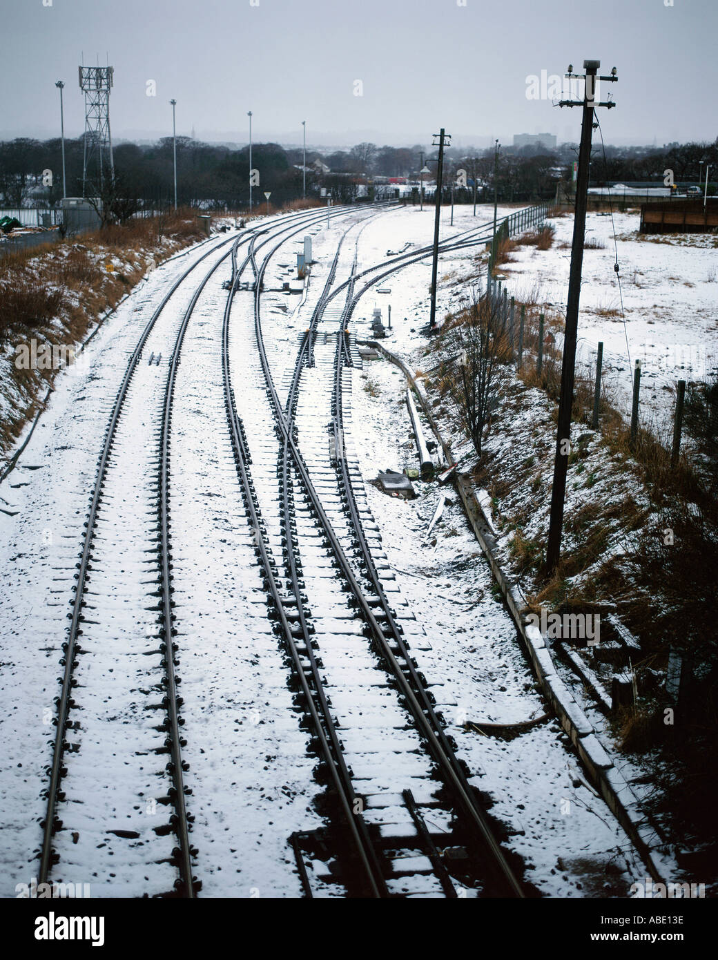 Snow on rail line - Stock Image
