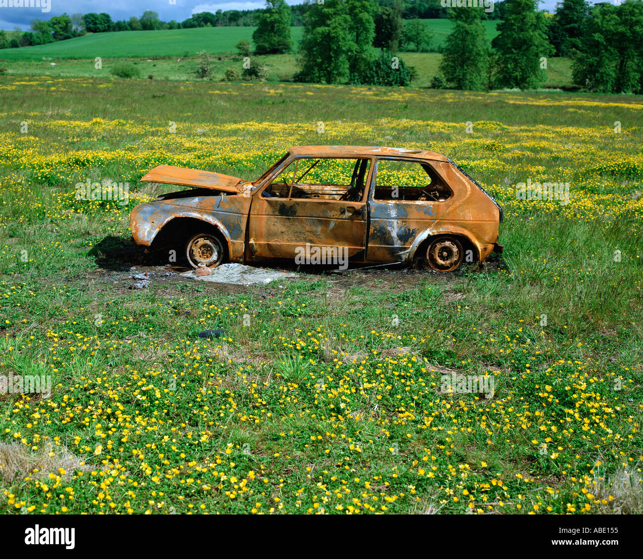 Abandoned car in a field - Stock Image