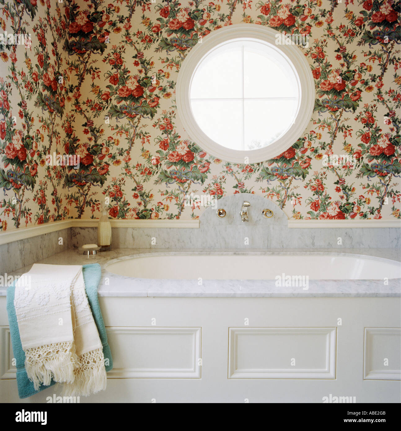 Bathroom with Wallpaper - Stock Image