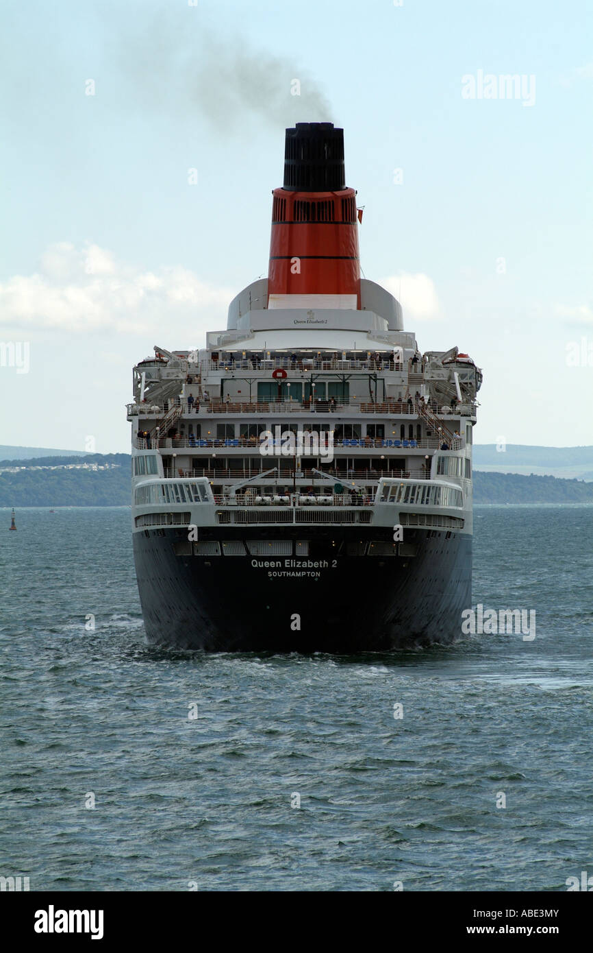 Queen Elizabeth 2 sailing on the Solent approaches the Isle of Wight England UK - Stock Image