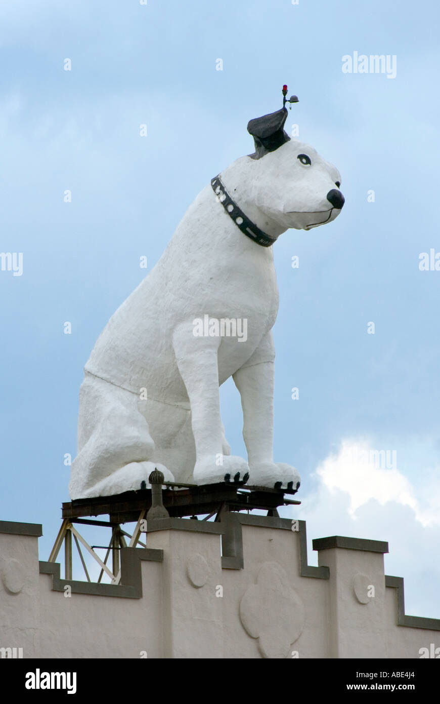Nipper the RCA dog on top of a warehouse in downtown Albany New York - Stock Image