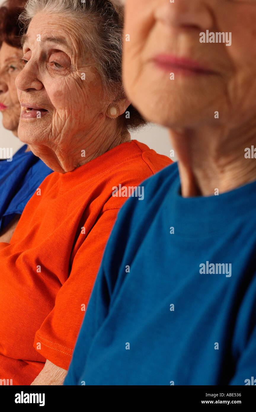 Three elderly women partial view - Stock Image