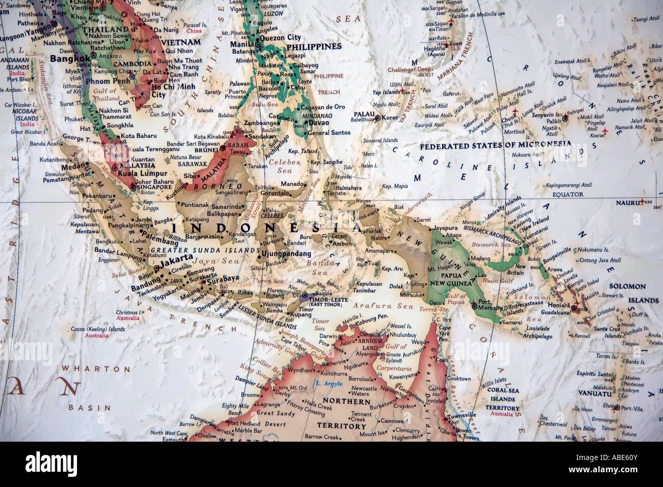 a view of indonesia and the surrounding region on a fine detailed and colorful world