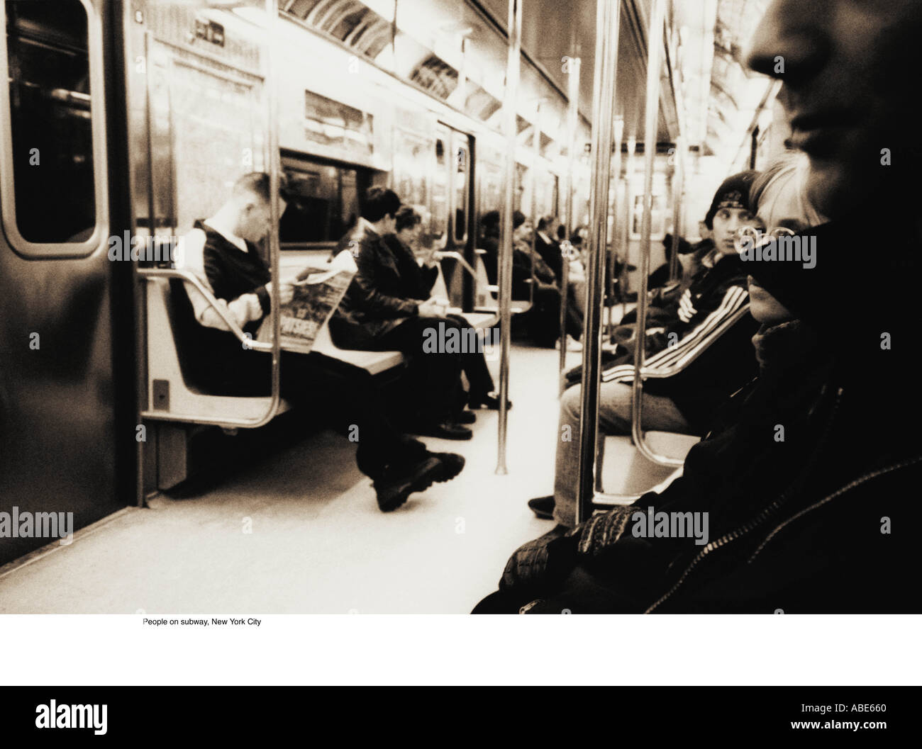 People on new york subway - Stock Image