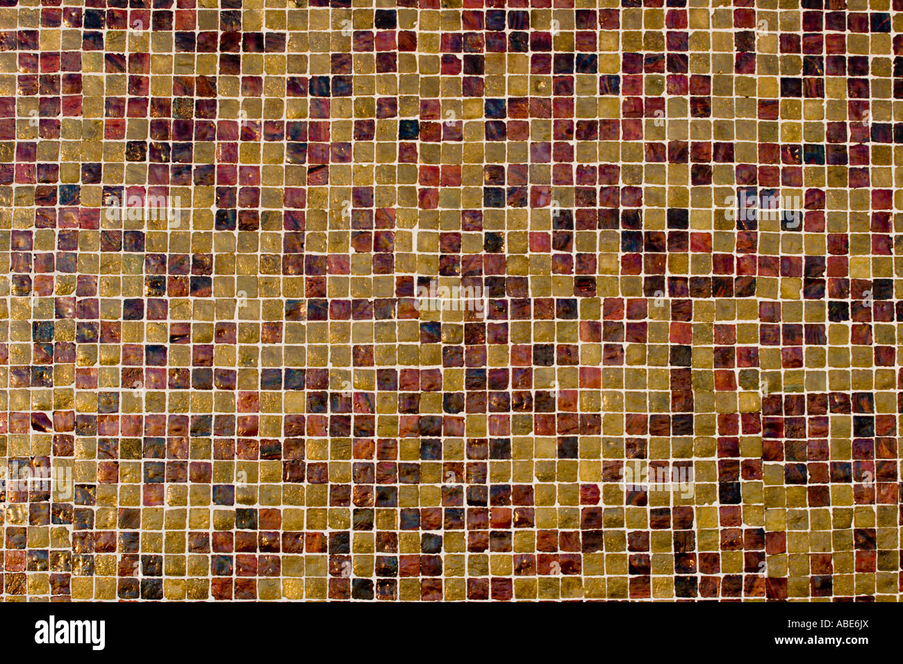 Tile mosaic texture in brown tones - Stock Image