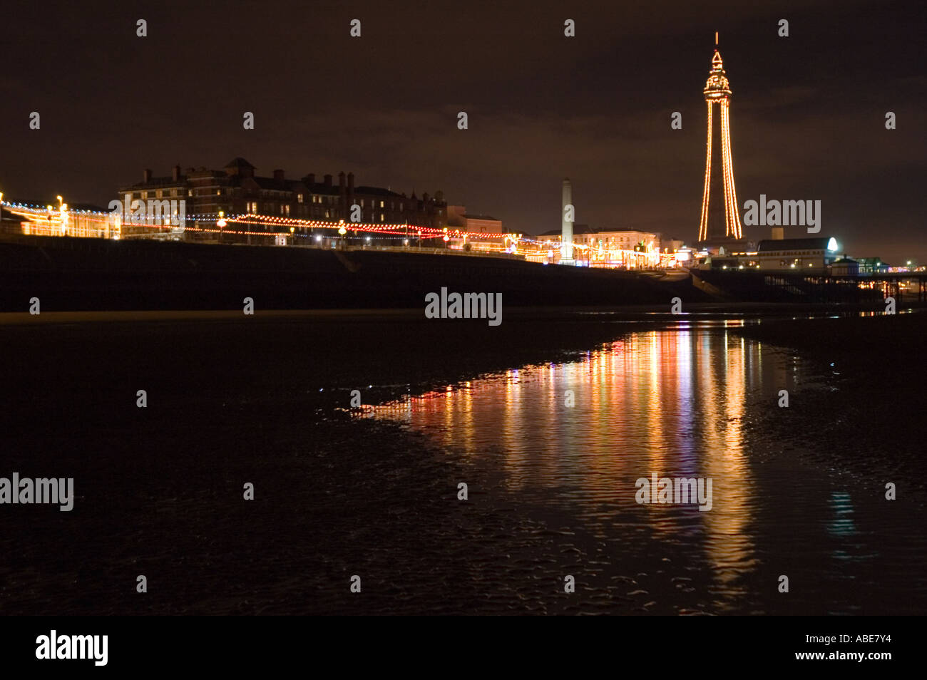 Blackpool Tower during the illuminations. Stock Photo