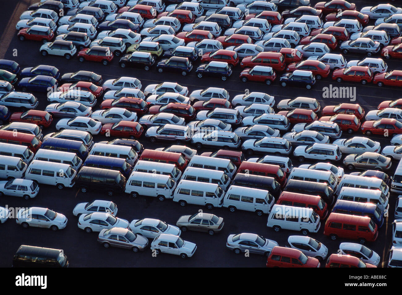 Cars parked at a motor factory - Stock Image