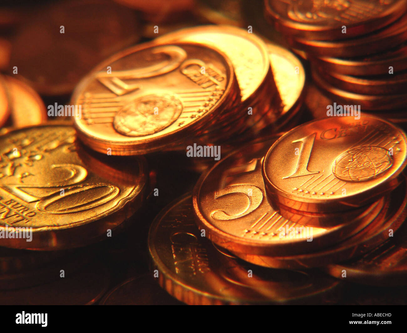 Euro-cent coins - Stock Image
