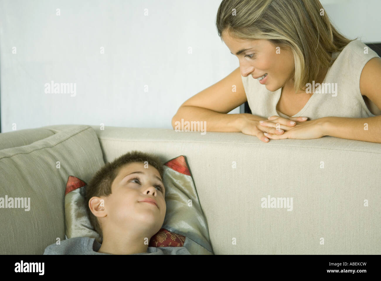 Mother and son talking - Stock Image
