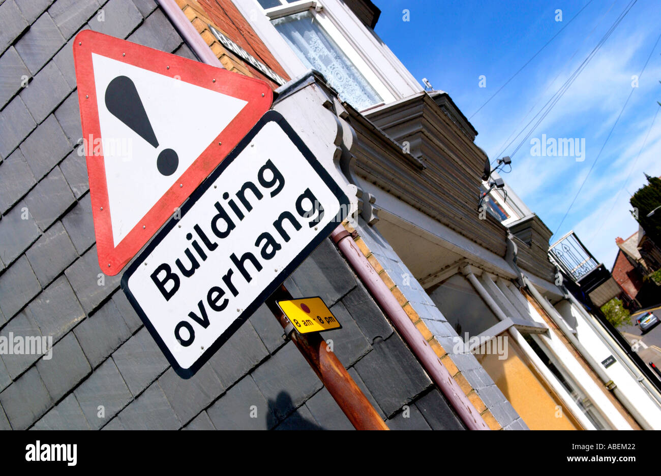 Building overhang sign in Rhayader Powys Mid Wales UK - Stock Image