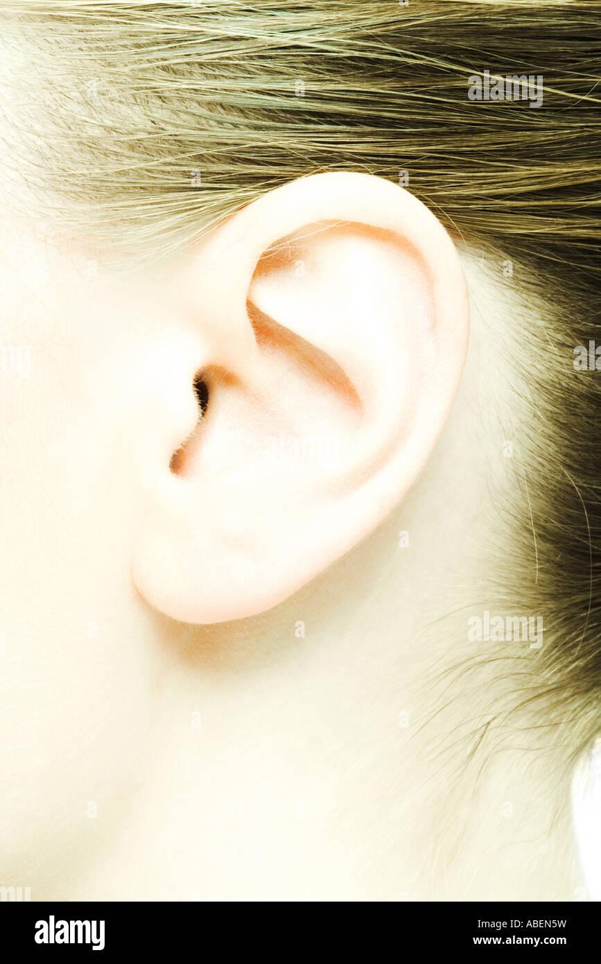 Teenage girl's ear, extreme close-up - Stock Image
