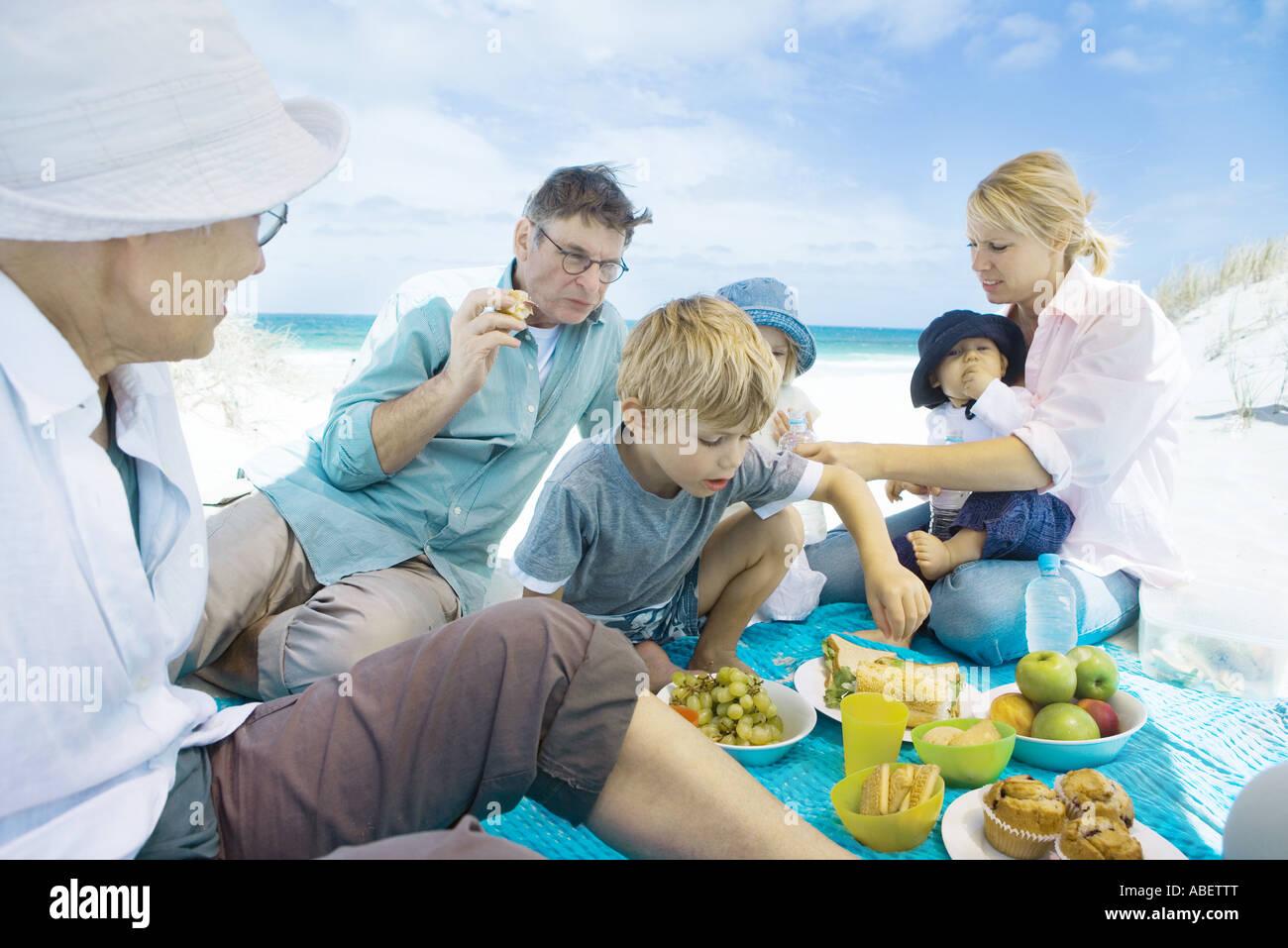 Family having picnic on beach Stock Photo