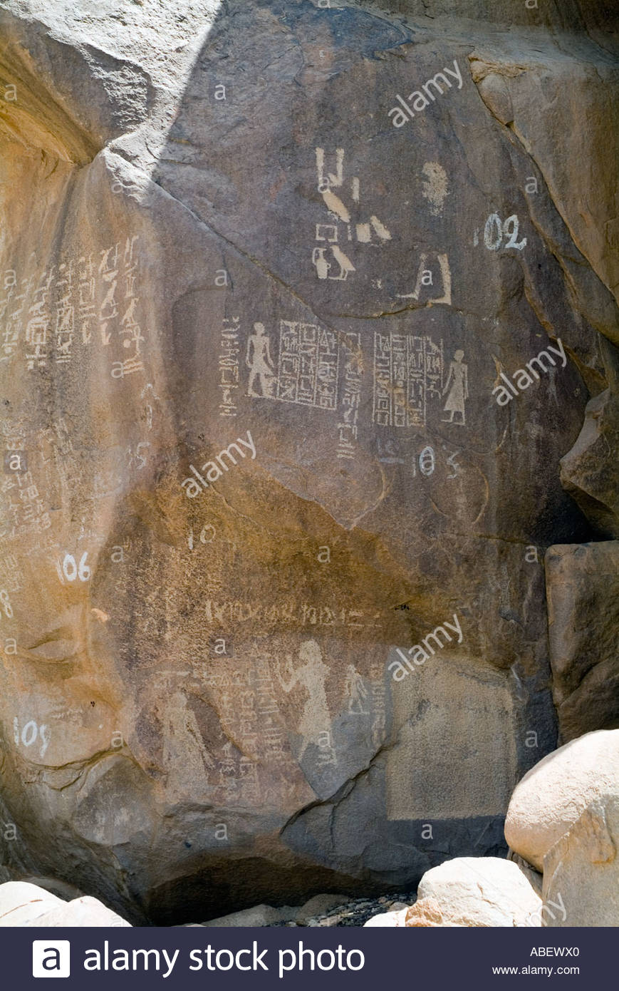 Numbered Inscriptions By Ancient Egyptian Officials Amongst Boulders