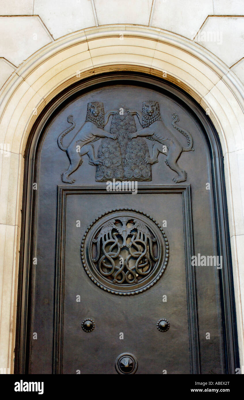 Detail on decorative door at The Bank of England London - Stock Image