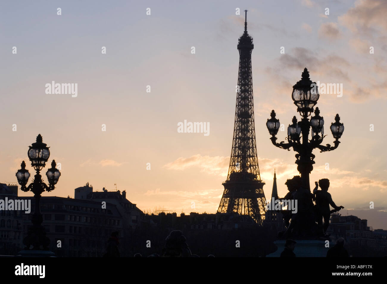 Eiffel Tower. Paris. France. Seen from the Alexandre III bridge (detail of bridge included in foreground) - Stock Image