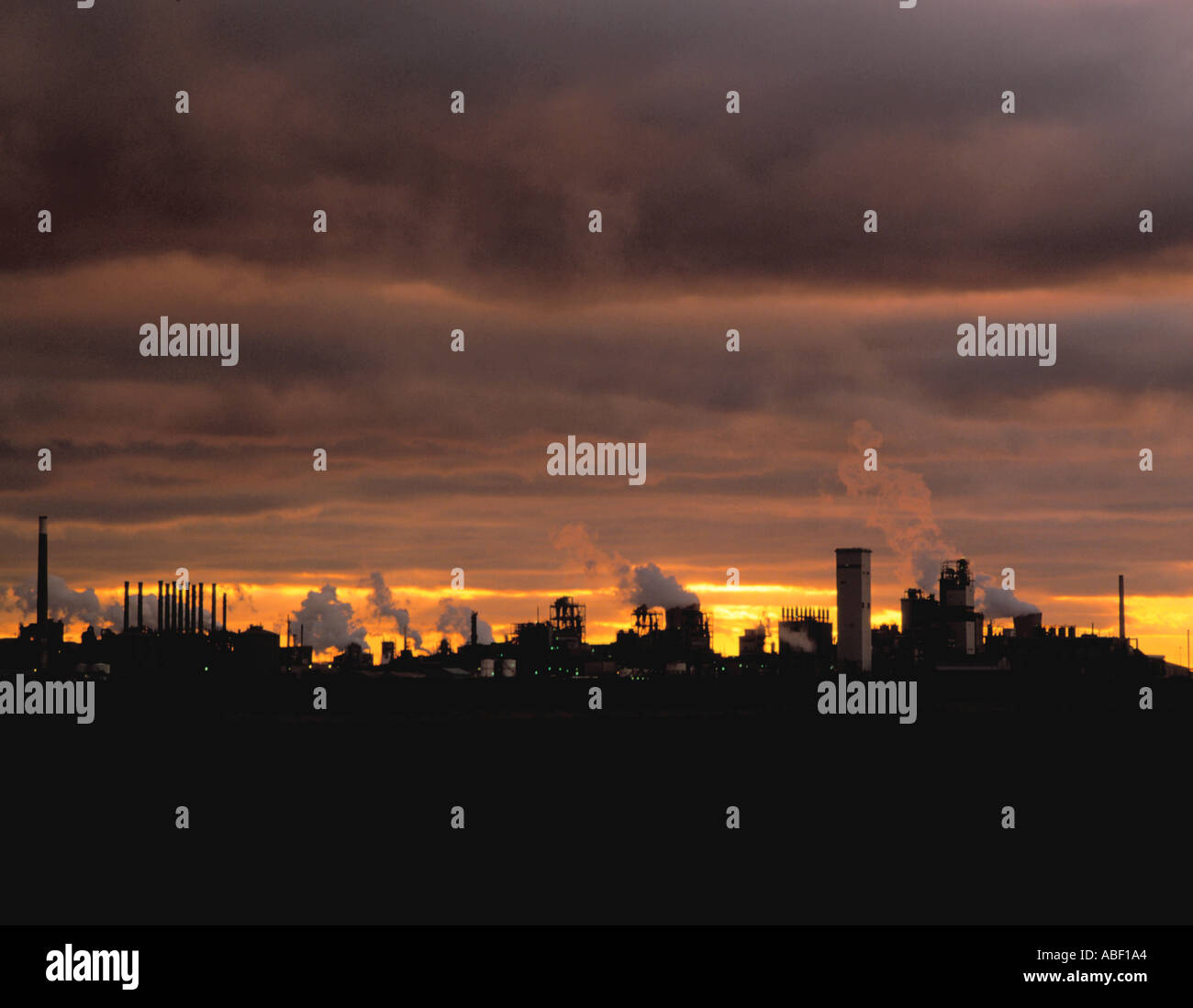 Panorama of a chemical works at sunset; Chemical complex at Wilton, Teesside, Cleveland, England, UK. - Stock Image