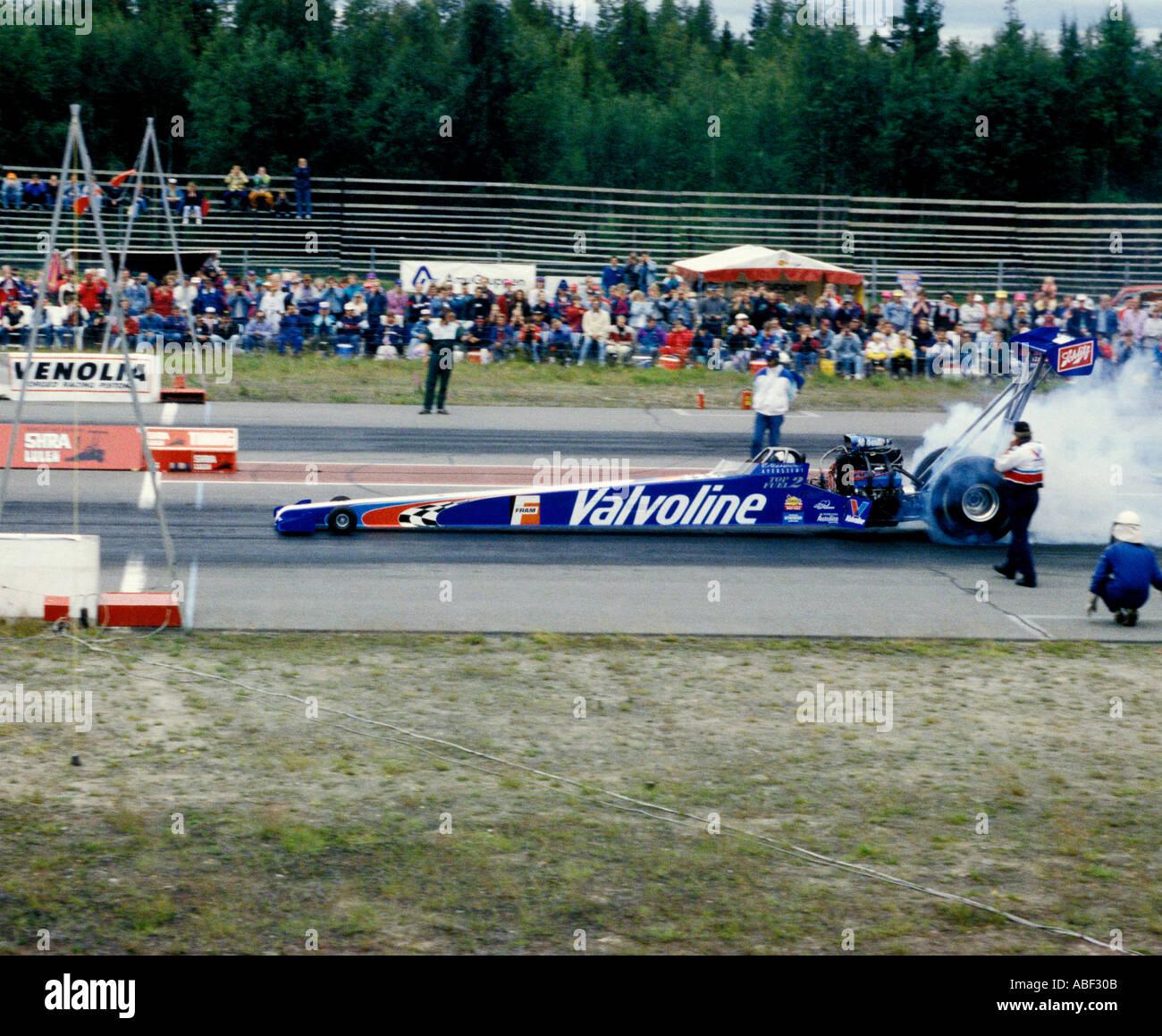Viveca Averstadts Valvoline Top Fuel Dragster At Pitea Dragway In Northern Sweden