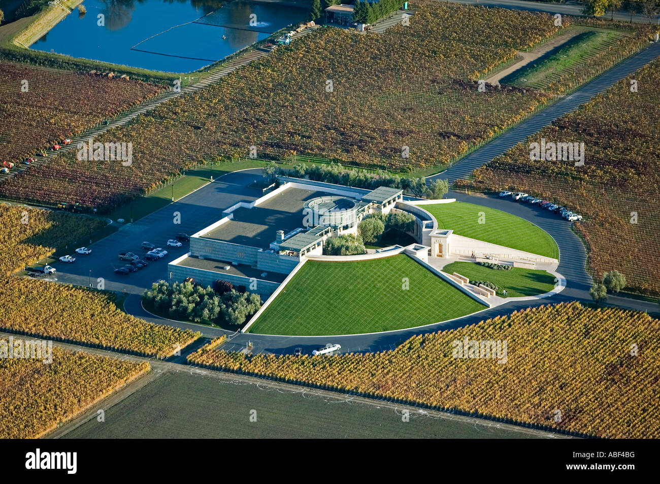 aerial view above Opus One Winery Mondavi and Rothschild joint venture Napa county California Stock Photo