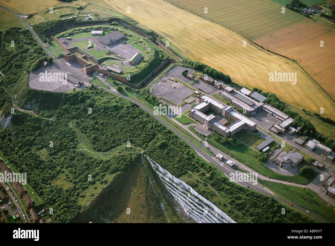 Aerial of Fort Southwick former COMMCEN HQ and wartime UGHQ near Portsmouth - Stock Image