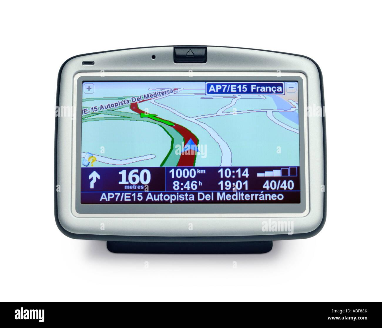 GPS SATELLITE NAVIGATION INSTRUMENT ON WHITE BACKGROUND - Stock Image