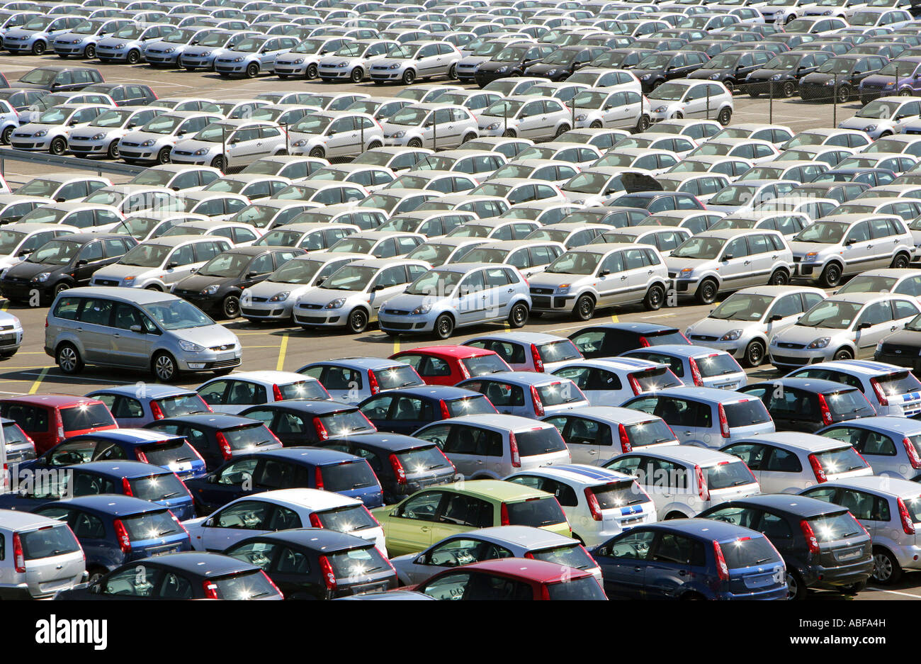 Germany, Cologne, Ford Motor Company,  new vehicles on the companies premises - Stock Image