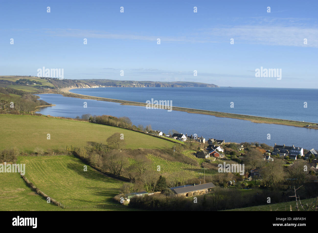 Slapton Ley National Nature Reserve and lake south Devon England - Stock Image
