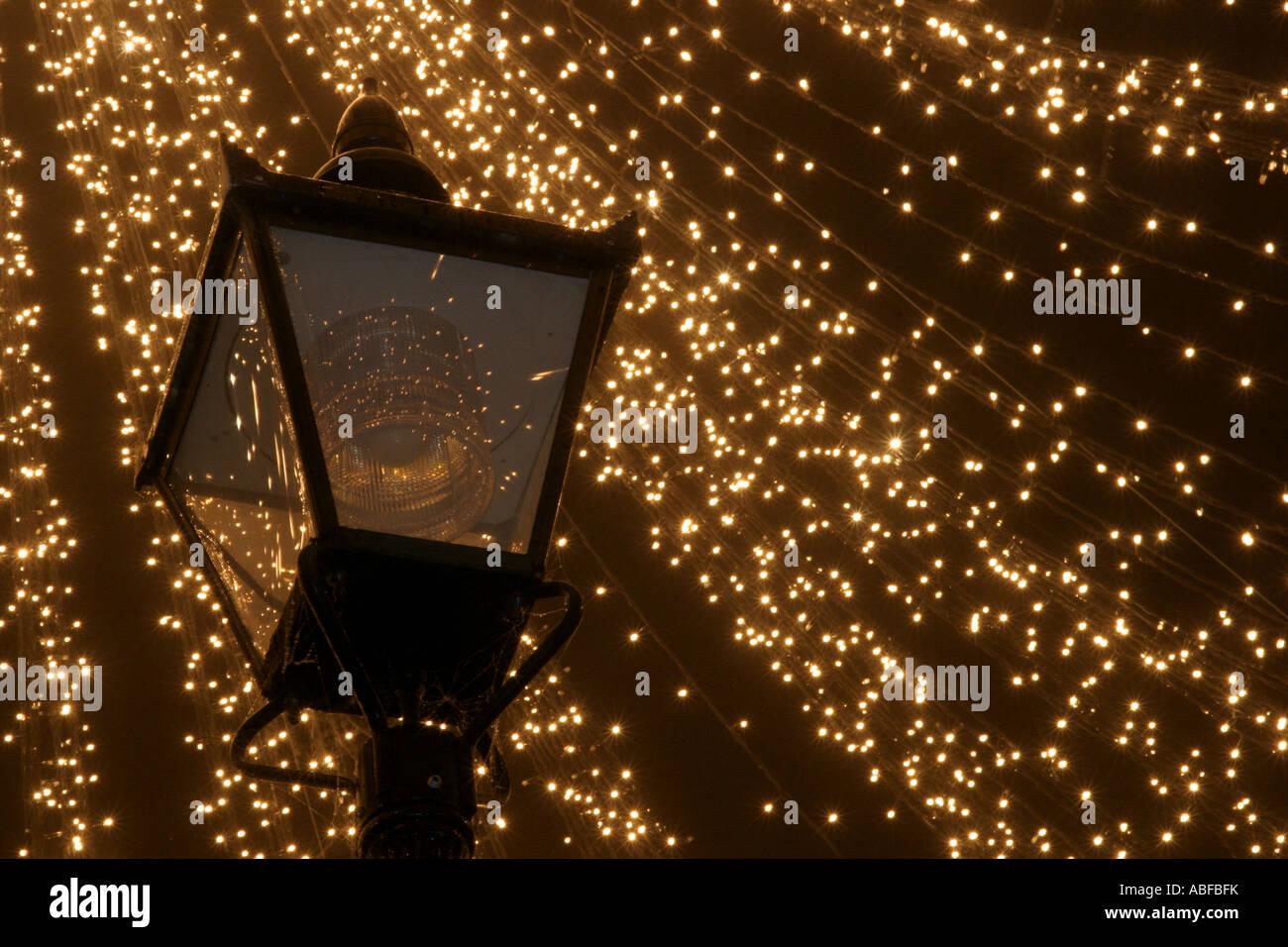 christmas street lighting in the uk stock image