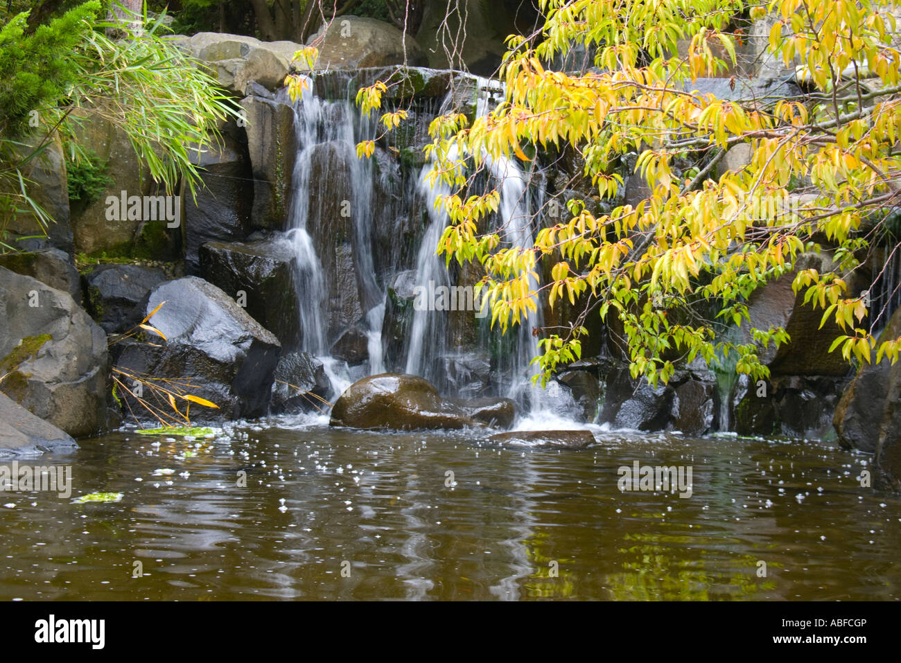 Small waterfall in Japanese Garden - Stock Image