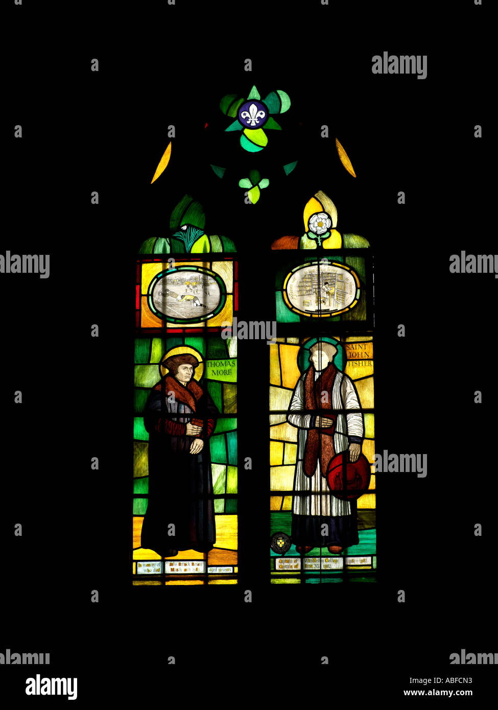 Stained Glass Window Thomas More Saint John Fisher Small Window - Stock Image