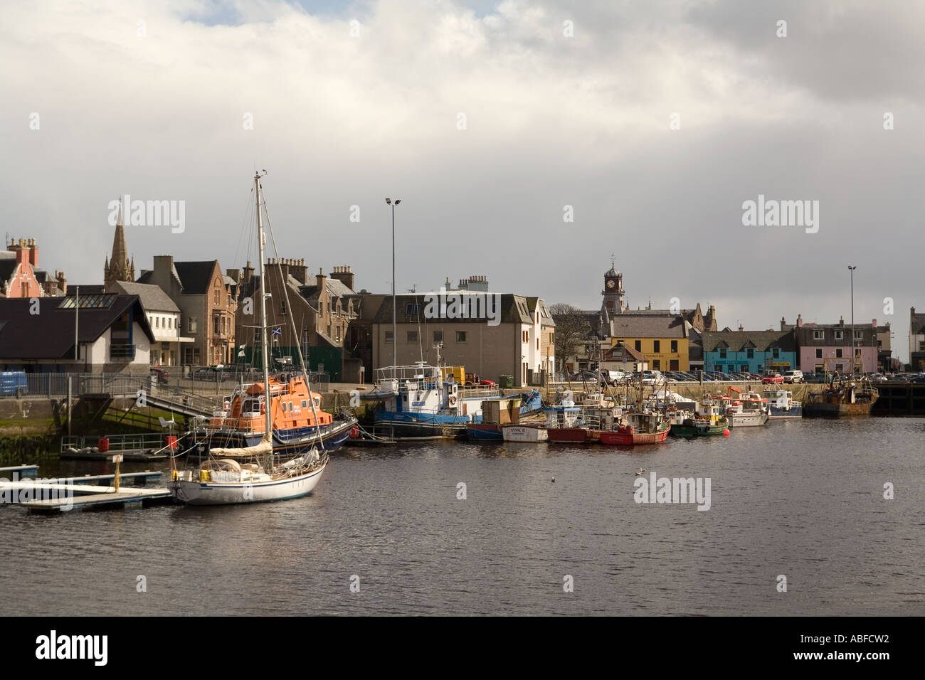 UK Scotland Western Isles Outer Hebrides Lewis Stornoway fishing boats in the inner harbour - Stock Image