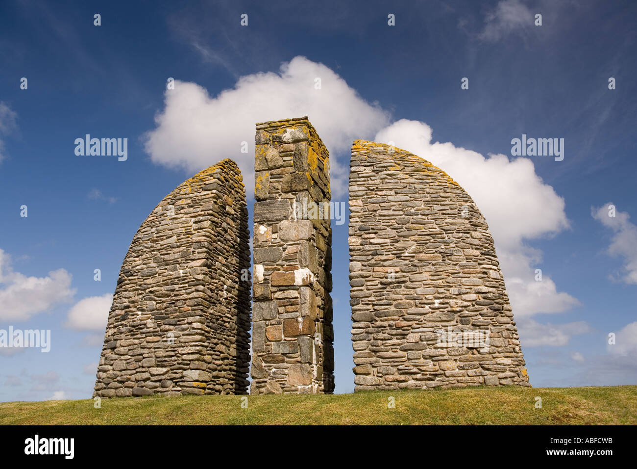 UK Scotland Western Isles Outer Hebrides Lewis Stornoway Land Raiders Monument by Will MacLean - Stock Image