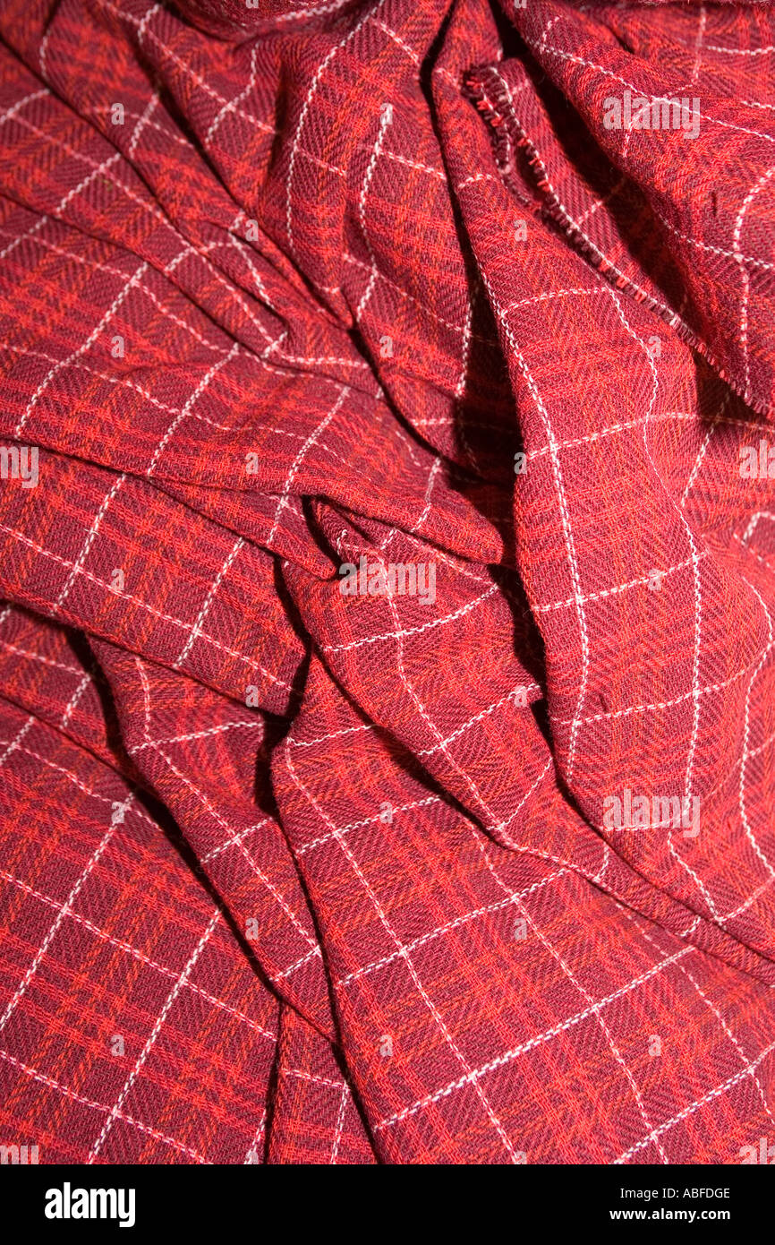 UK Scotland Western Isles Outer Hebrides Lewis Stornoway Harris Tweed Making woven tartan - Stock Image