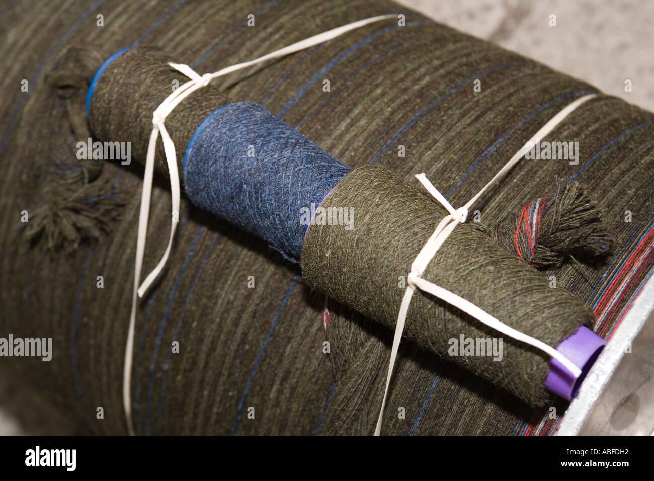 UK Scotland Western Isles Outer Hebrides Lewis Stornoway Harris Tweed warped yarn ready for handweaving - Stock Image