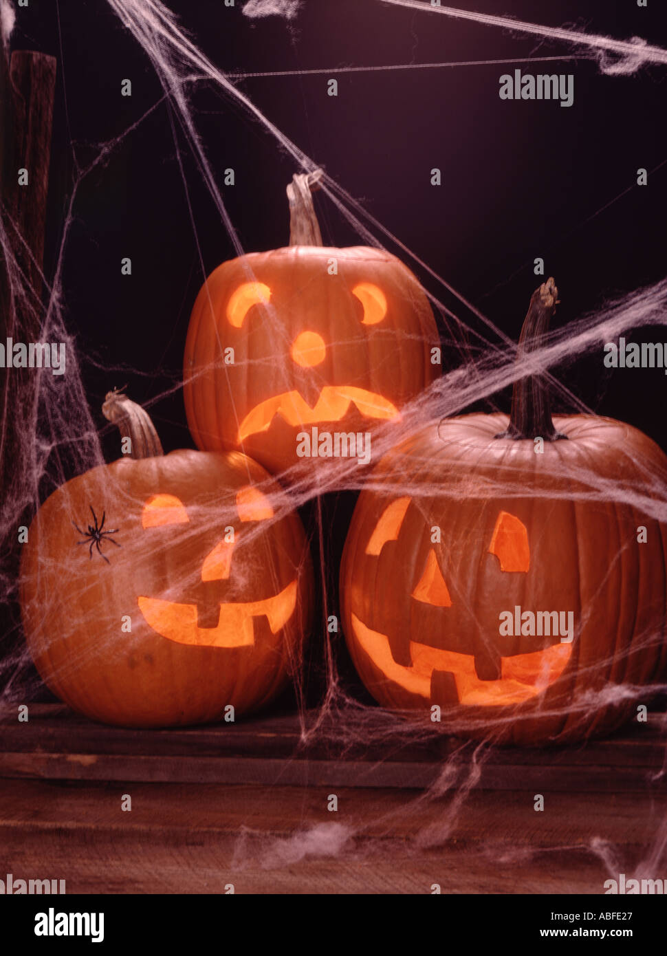 Vertical of three scary Halloween Jack O Lanterns with a spider and spider webs on an old wood background - Stock Image
