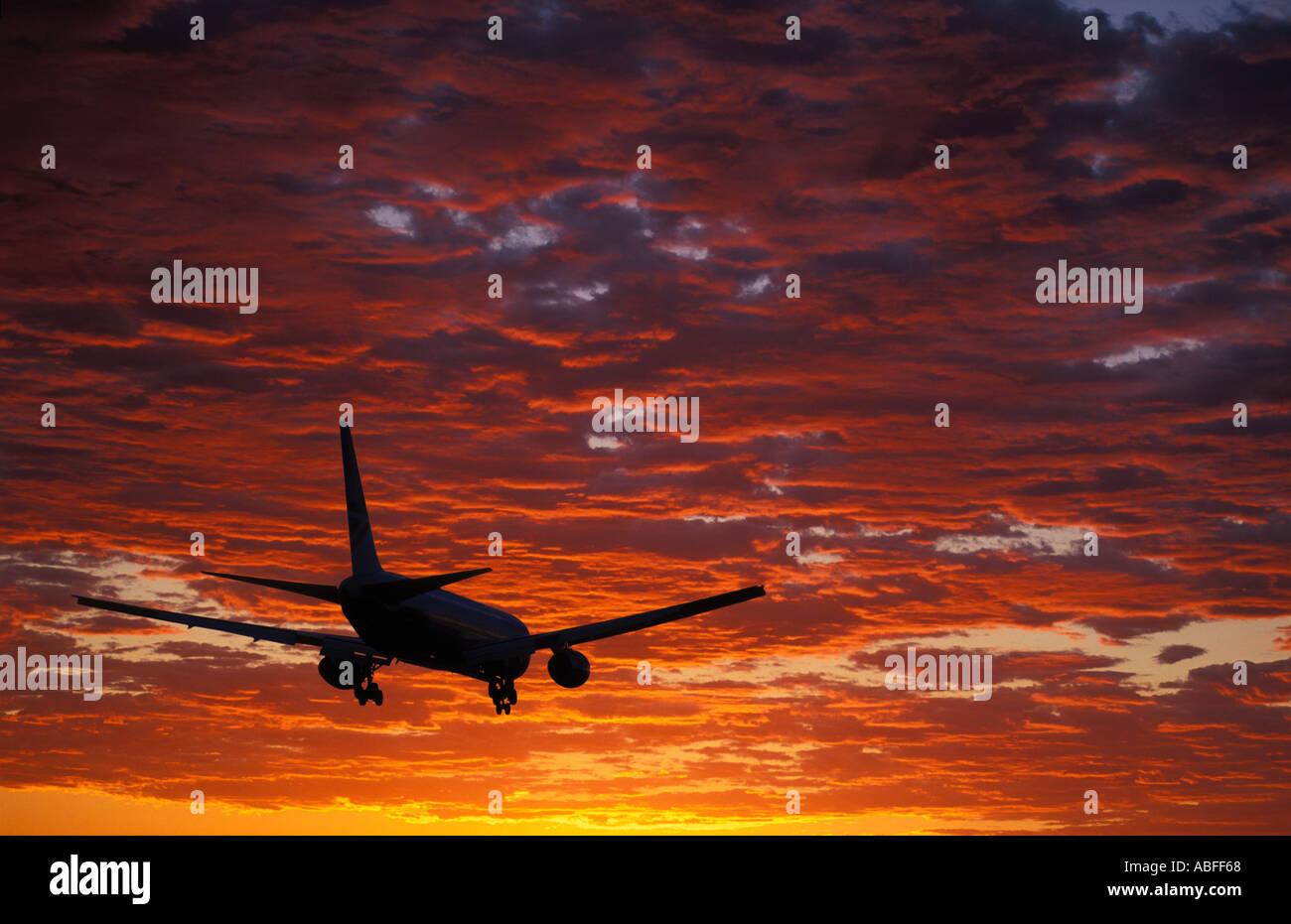 Aircraft landing at Heathrow UK - Stock Image