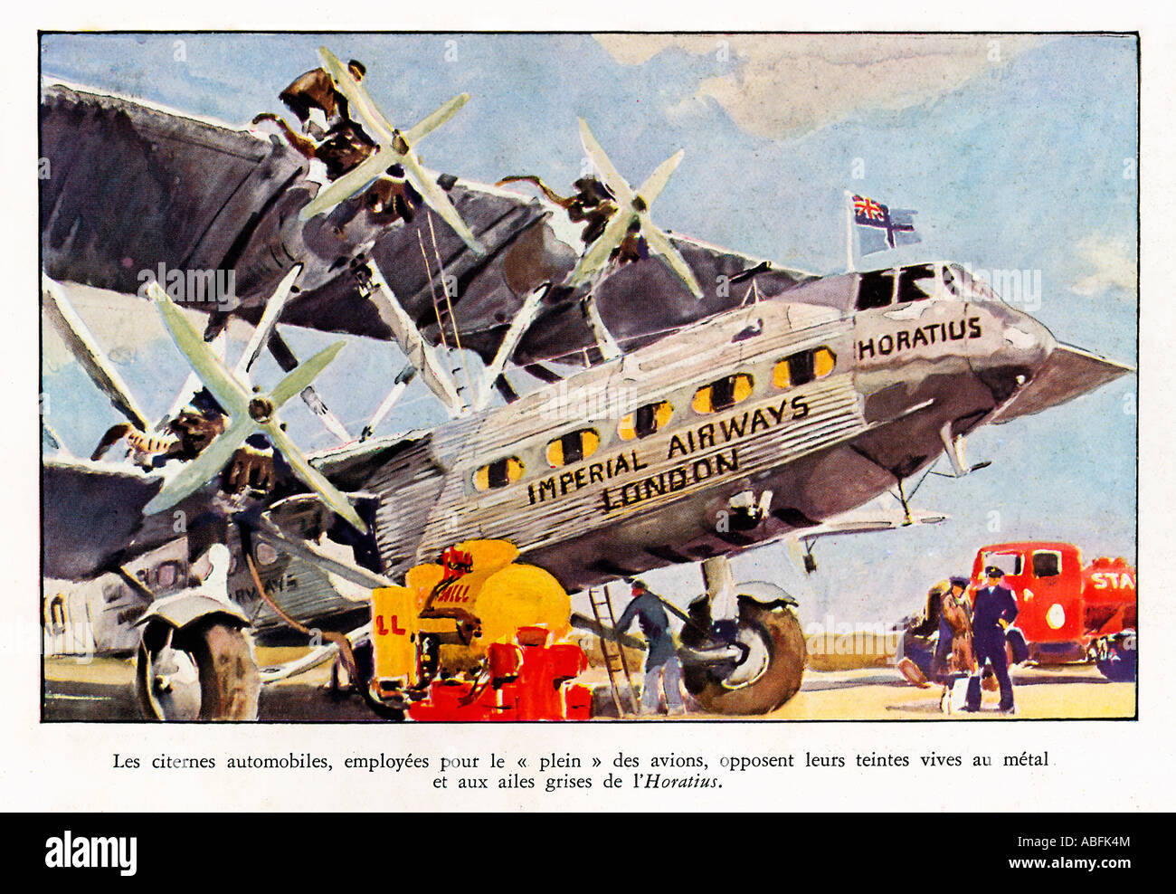 Imperial Airways Horatius 1934 French magazine illustration of the Handley Page airliner being refuelled - Stock Image