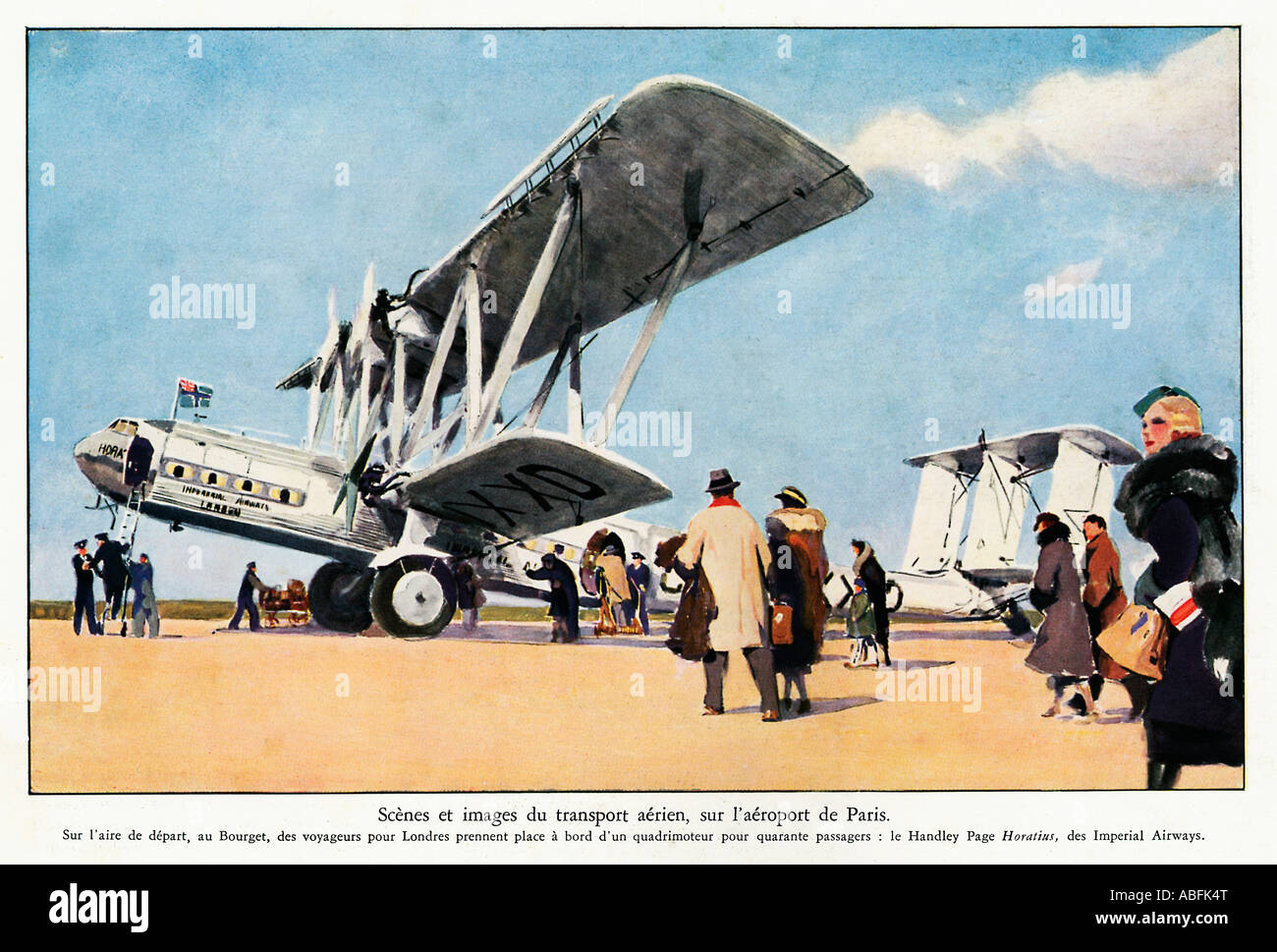 Handley Page Paris 1934 French magazine illustration of an Imperial Airways airliner Horatius at Le Bourget airport - Stock Image