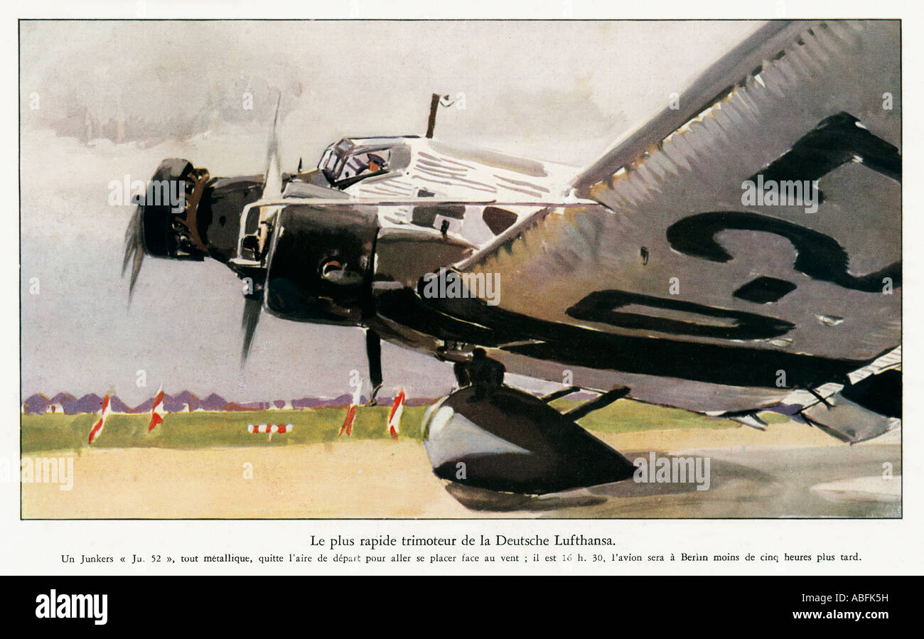 Lufthansa Junkers 52 1934 French Magazine illustration of the German passenger aircraft taking off - Stock Image