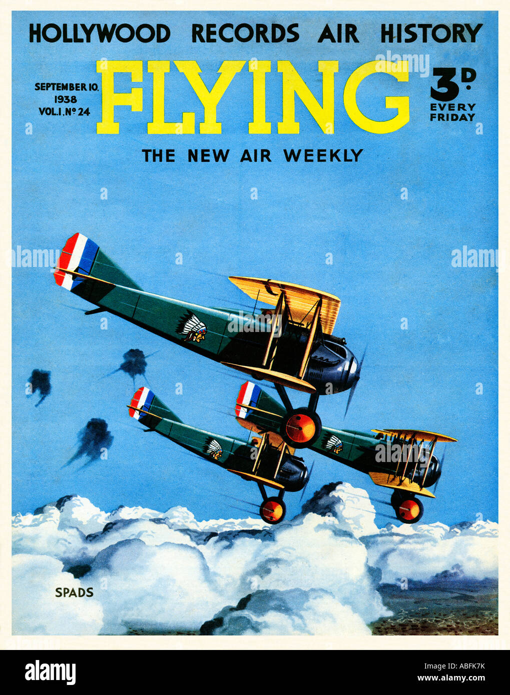 Flying Spads 1938 magazine cover illustrating the French Great War fighter plane flown by all of the Allied airforces - Stock Image