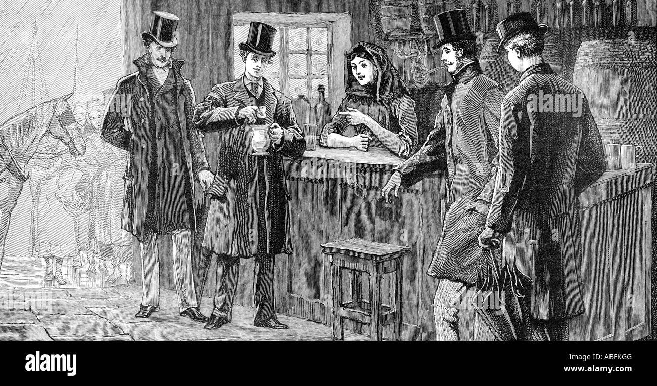 Prince of Wales drinks Poteen 1888 travelling incognito in Ireland the future King Edward VII drinks Real Potheen - Stock Image