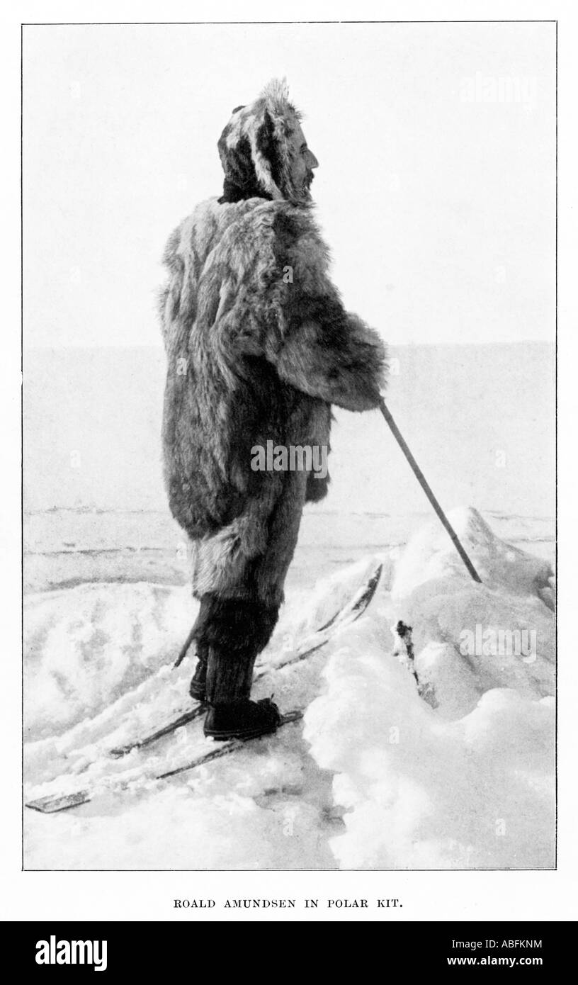 Roald Amundsen in Polar Kit the Norwegian explorer on his successful 1911 expedition to the South Pole Stock Photo