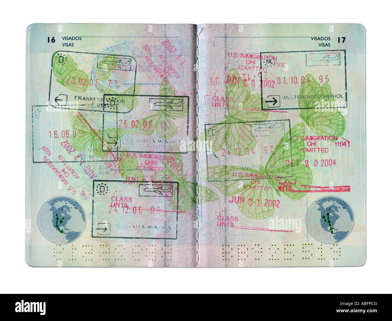 STAMPS IN SPANISH  PASSPORT ON WHITE BACKGROUND Stock Photo